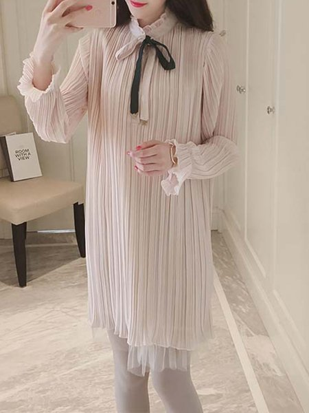 Bell Sleeve Solid Ruffled Shift Dress