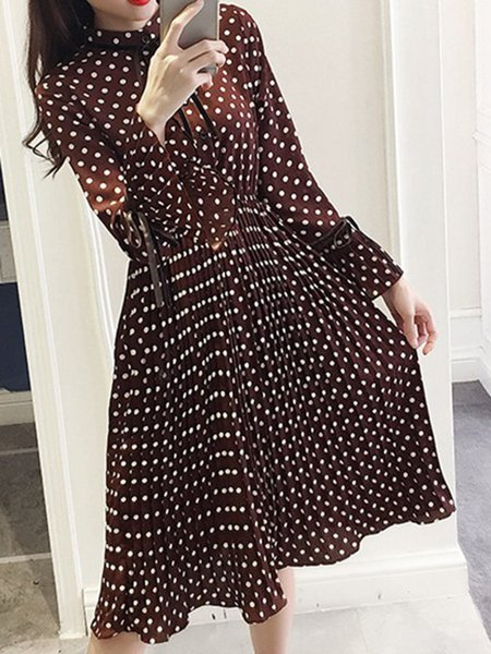 Polka Dots Bell Sleeve H-line Pleated Dress