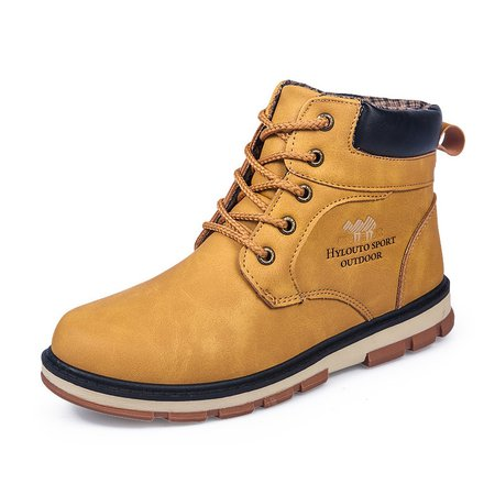 Non-slip Artificial Leather Lace-up Flat Heel Casual Boots