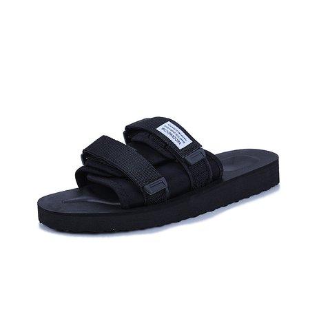 Tanjun Cloth Magic Tape Flat Heel Men's Slippers