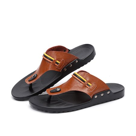 Tanjun Daily Artificial Leather Flat Heel Men's Sandals