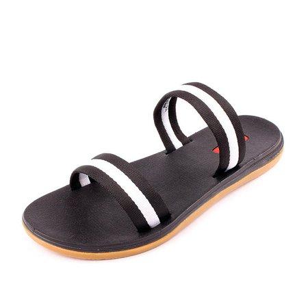 Black Flat Heel Seaside Slippers