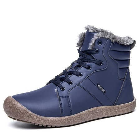 Warm Non-slip Flat Heel Artificial Leather Lace-up Boots