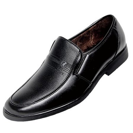 Warm Black All Season Low Heel Formal Shoes