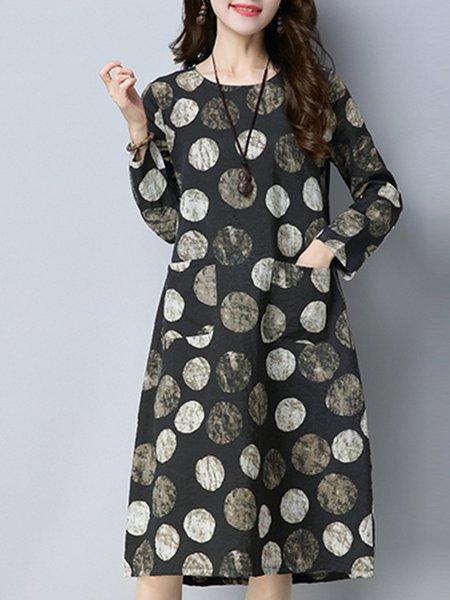 Pockets Casual Crew Neck Wool Blend Long Sleeve Vintage Dress