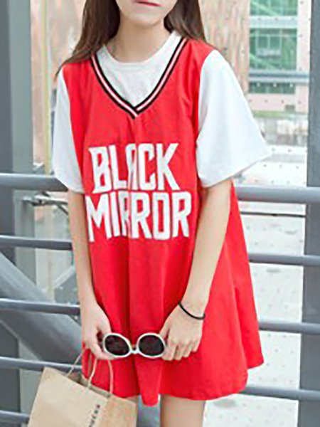 Short Sleeve Letter Casual Tunic Top