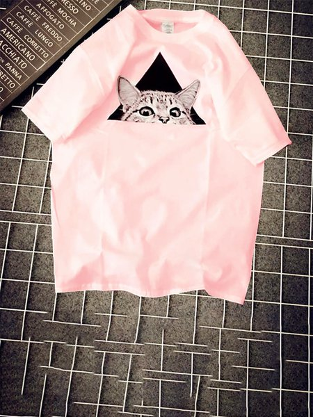 Casual Polyester Animal Crew Neck T-Shirt