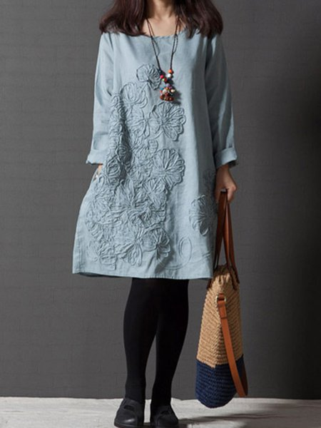 Women Casual Dress Crew Neck Shift Cotton Embroidered Dress