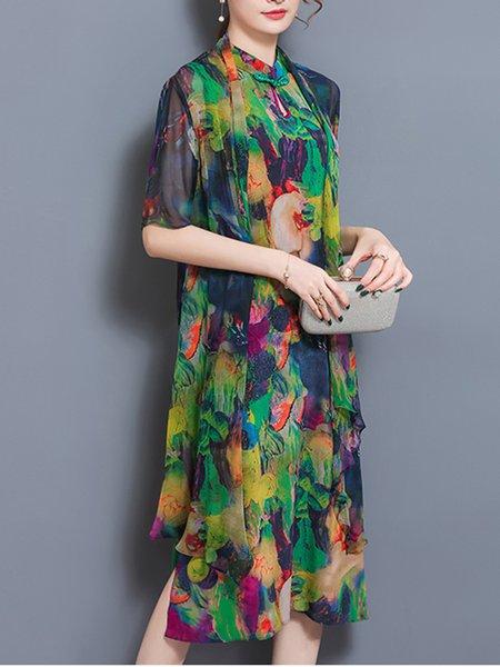 Multicolor Women Print Dress Keyhole Two Piece Slit Abstract Dress