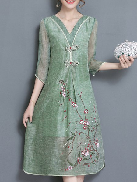 Light green Women Print Dress V neck A-line Daytime Cotton Folds Dress