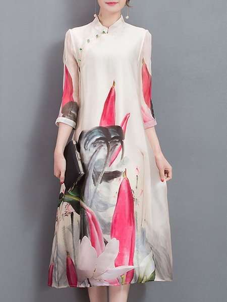 White Women Print Dress Stand Collar Daytime 3/4 Sleeve Floral Dress