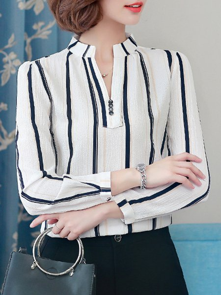 Stand Collar Casual Stripes Plus Size Blouse