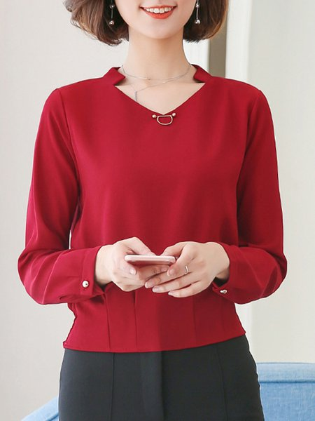 Long Sleeve Buttoned V Neck Plus Size Blouses