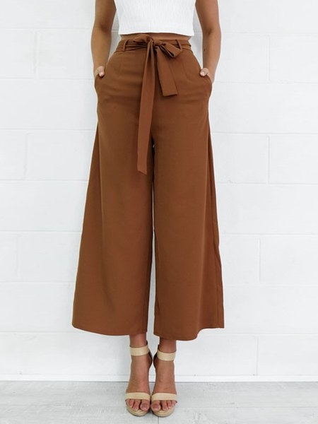 Pockets Solid Wide -Leg Pants with Belt
