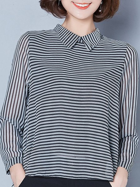 High Low Long Sleeve Strips Blouse