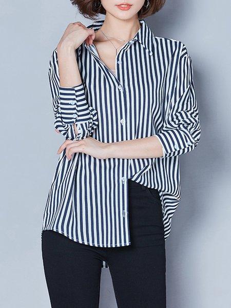 Shirt Collar Long Sleeve Stripes Casual Blouse