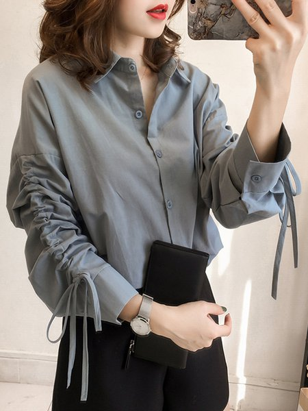 Bow Shirt Collar Long Sleeve Solid Plus Size Blouse