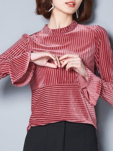 Bell Sleeve Stand Collar Velvet Plus Size Blouse