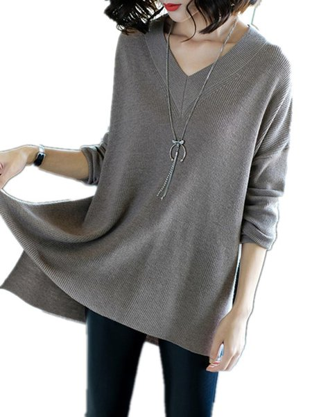 Gray Solid Long Sleeve Slit V-Neck Knitted Sweater
