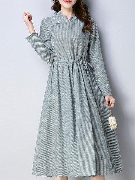 Women Casual Dress Stand Collar A-line Long Sleeve Casual Dress