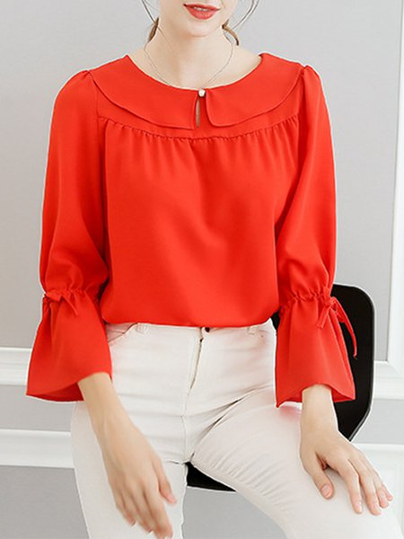 Solid Peter Pan Collar Bell Sleeve Blouse