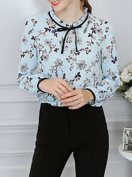 Floral Printed Long Sleeve Tie-neck Blouse