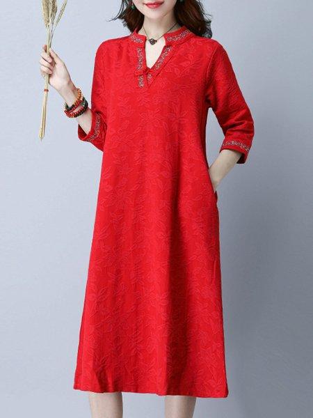 Women Casual Dress V neck Casual Cotton Dress