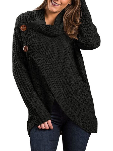 Cowl Neck Buttoned Knitted Asymmetrical Sweater