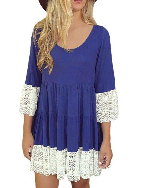 3/4 sleeve Paneled Casual Dresses