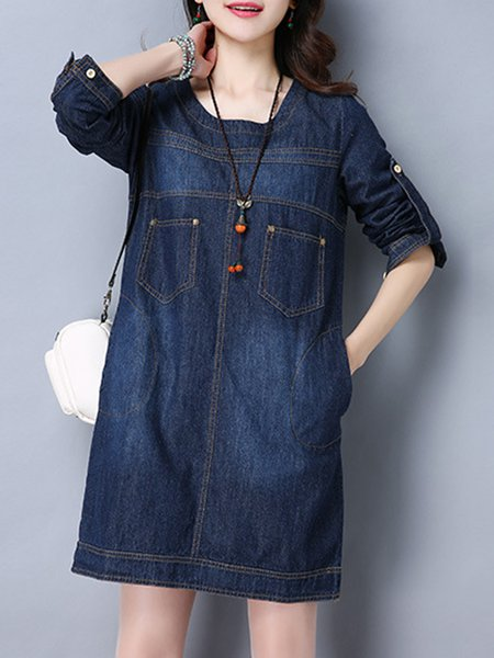 Solid A-line Casual Cotton Long Sleeve Dress