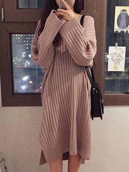 V Neck Acrylic Long Sleeve Casual Dress