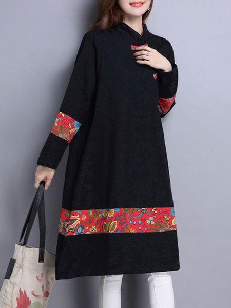 Paneled Long Sleeve Floral Keyhole Dress