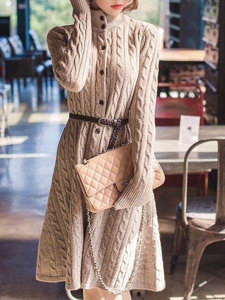 Elegant Long Sleeve Stand Collar Dress
