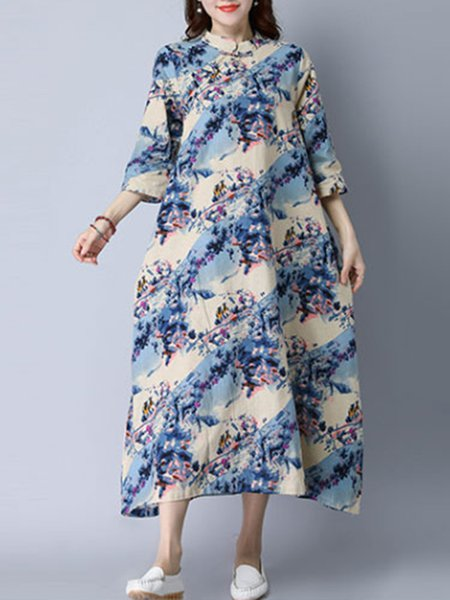 Multicolor Embroidered Crew Neck 3/4 Sleeve Dress