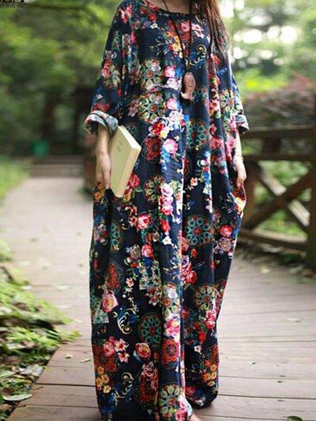 Women Print Dress Crew Neck Shift Daily Casual Cotton Dress