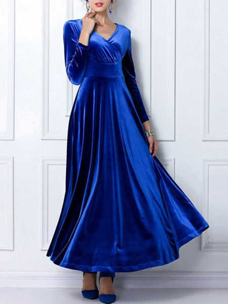 Long Sleeve V Neck Paneled Elegant Dress