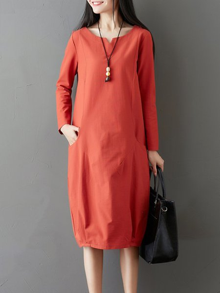 Women Casual Dress Cocoon Going out Pockets Solid Dress