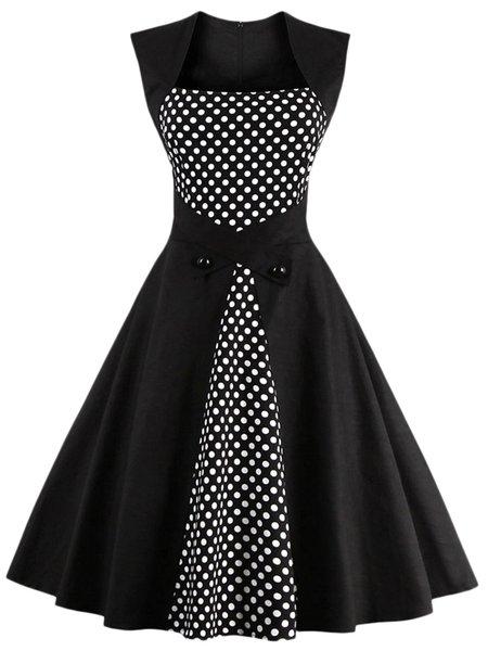 Black Women Elegant Dress Square neck Swing Daytime Sleeveless Cotton Dress