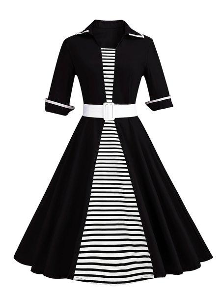 Women Elegant Dress Shirt Collar Going out Elegant Cotton Dress