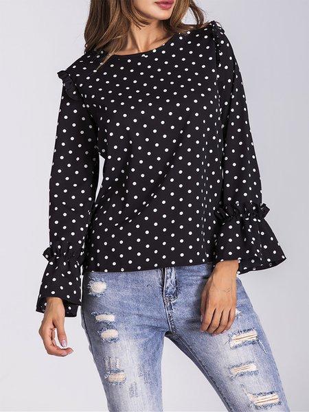Black Ruffled Chiffon Polka Dots T-Shirt