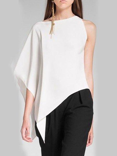 Paneled Asymmetrical Chiffon T-Shirt