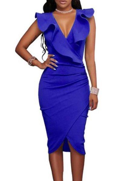 Women Prom Dress V neck Bodycon Party Sleeveless Elegant Dress