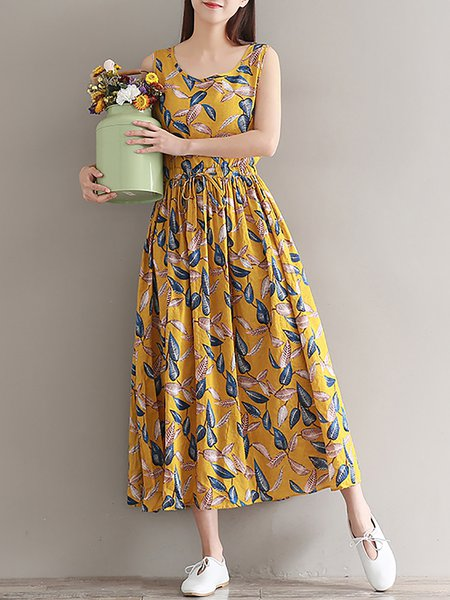 Women Print Dress Crew Neck Swing Daytime Paneled Floral Dress