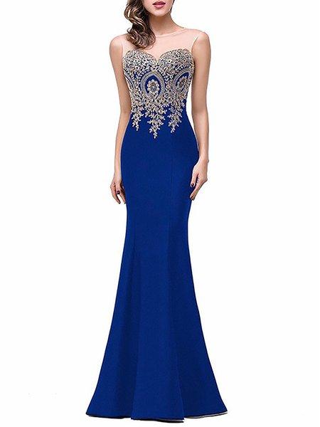 Women Prom Dress Off Shoulder Party Elegant Paneled Dress
