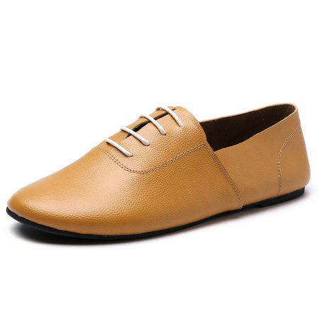 Soft Artificial Leather Flat Heel Lace-up Casual Shoes