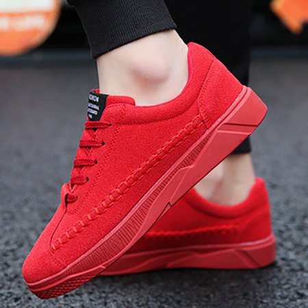 Canvas Athletic Flat Heel Lace-up Sneakers