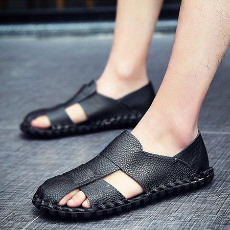 Seaside Flat Heel Artificial Leather Sandals