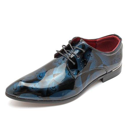 Men Classic Lace Up Floral Patent Leather Shoes