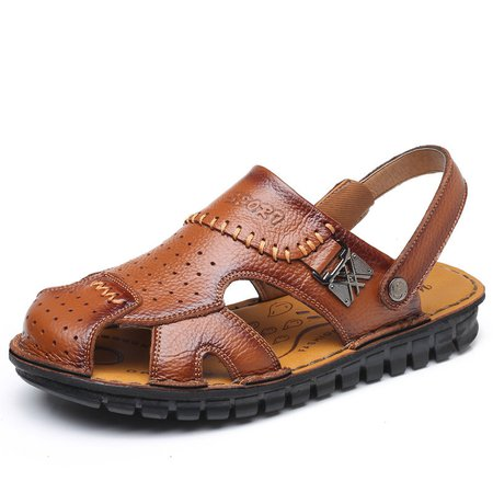 Men Breathable Cow Leather Hand Stitching Casual Sandals
