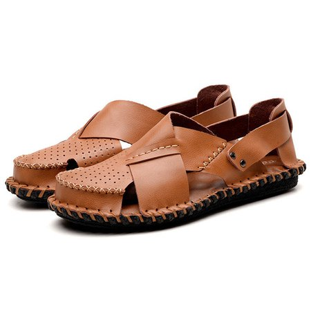 Men Hand Stitching Hole Breathable Leather Sandals